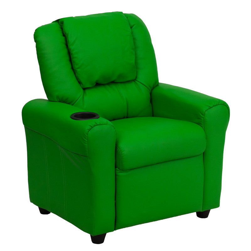 Contemporary Green Vinyl Kids Recliner with Cup Holder and Headrest DG-ULT-KID-GRN-GG by Flash Furniture FLA-DG-ULT-KID-GRN-GG