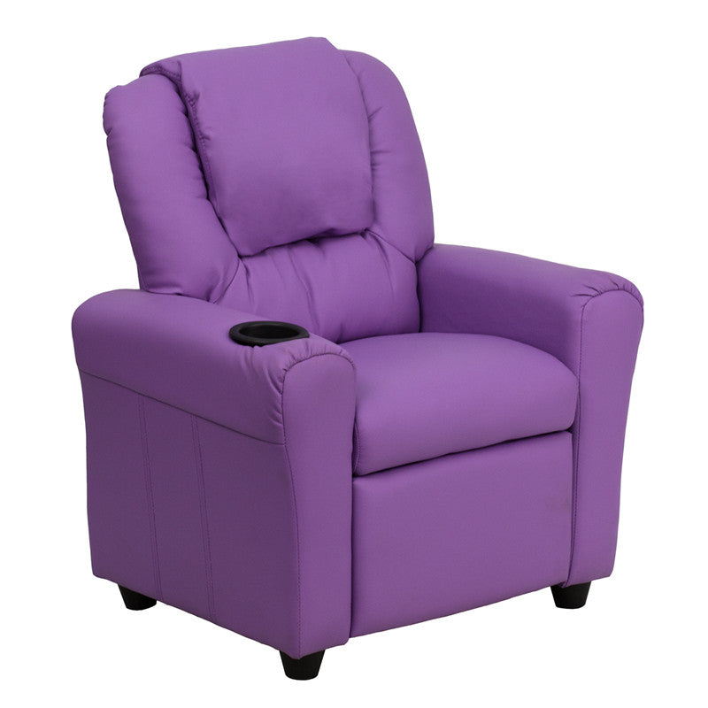 Contemporary Lavender Vinyl Kids Recliner with Cup Holder and Headrest DG-ULT-KID-LAV-GG by Flash Furniture