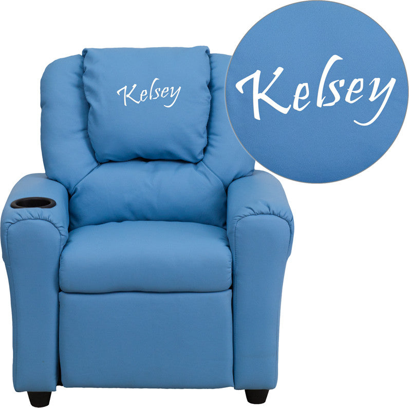 Flash Furniture DG-ULT-KID-LTBLUE-EMB-GG Personalized Light Blue Vinyl Kids Recliner with Cup Holder and Headrest