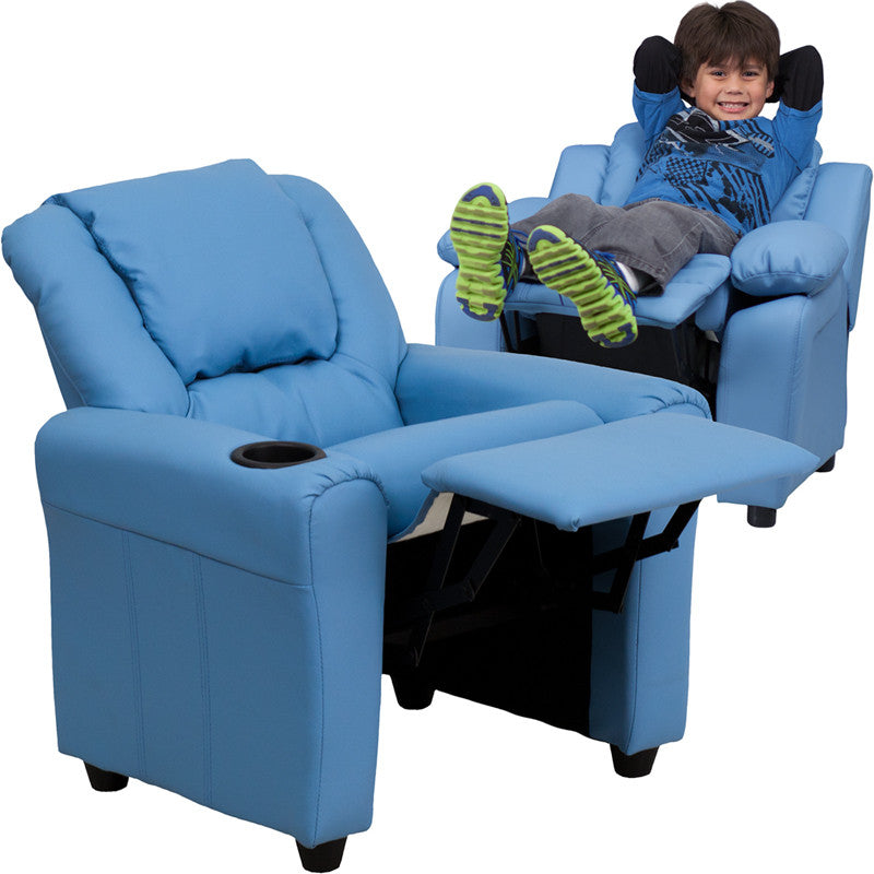 Contemporary Light Blue Vinyl Kids Recliner with Cup Holder and Headrest DG-ULT-KID-LTBLUE-GG by Flash Furniture FLA-DG-ULT-KID-LTBLUE-GG