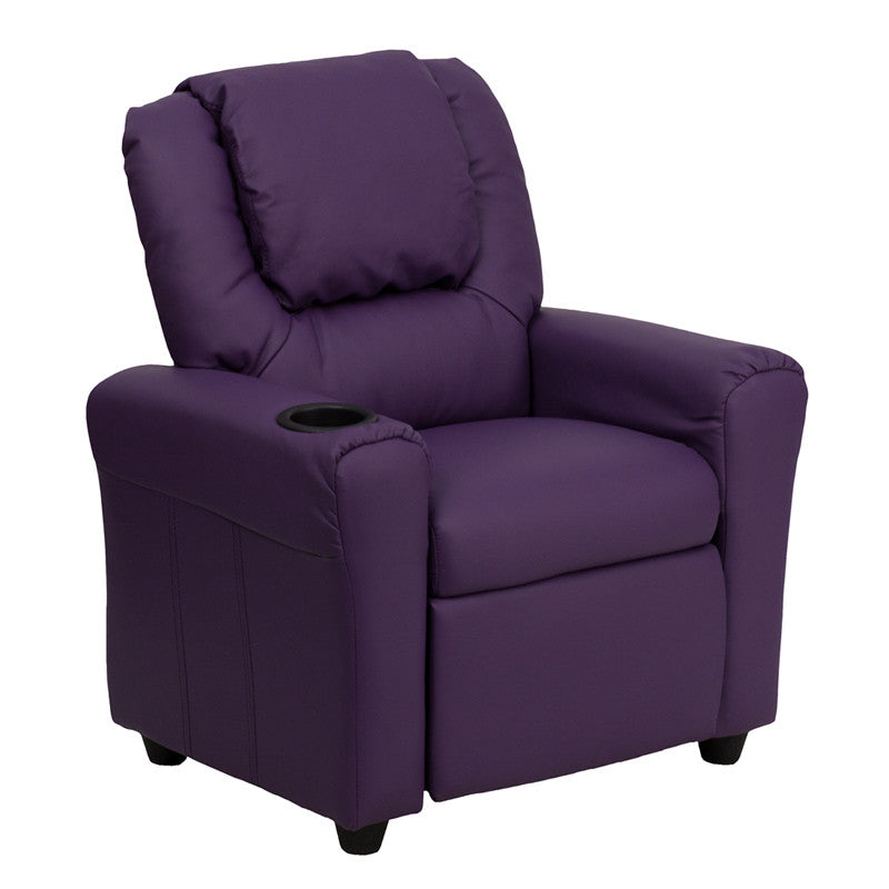 Contemporary Purple Vinyl Kids Recliner with Cup Holder and Headrest DG-ULT-KID-PUR-GG by Flash Furniture