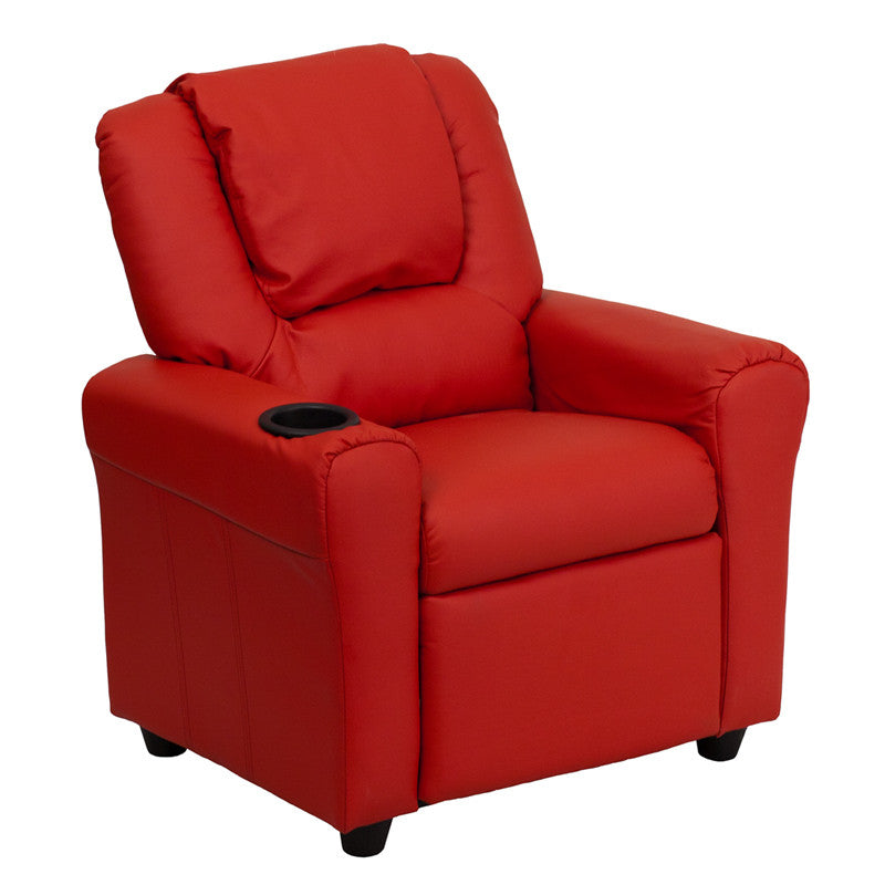 Contemporary Red Vinyl Kids Recliner with Cup Holder and Headrest DG-ULT-KID-RED-GG by Flash Furniture
