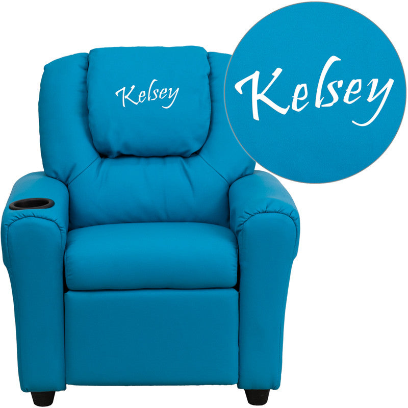 Flash Furniture DG-ULT-KID-TURQ-EMB-GG Personalized Turquoise Vinyl Kids Recliner with Cup Holder and Headrest - 1+ FLA-DG-ULT-KID-TURQ-EMB-GG