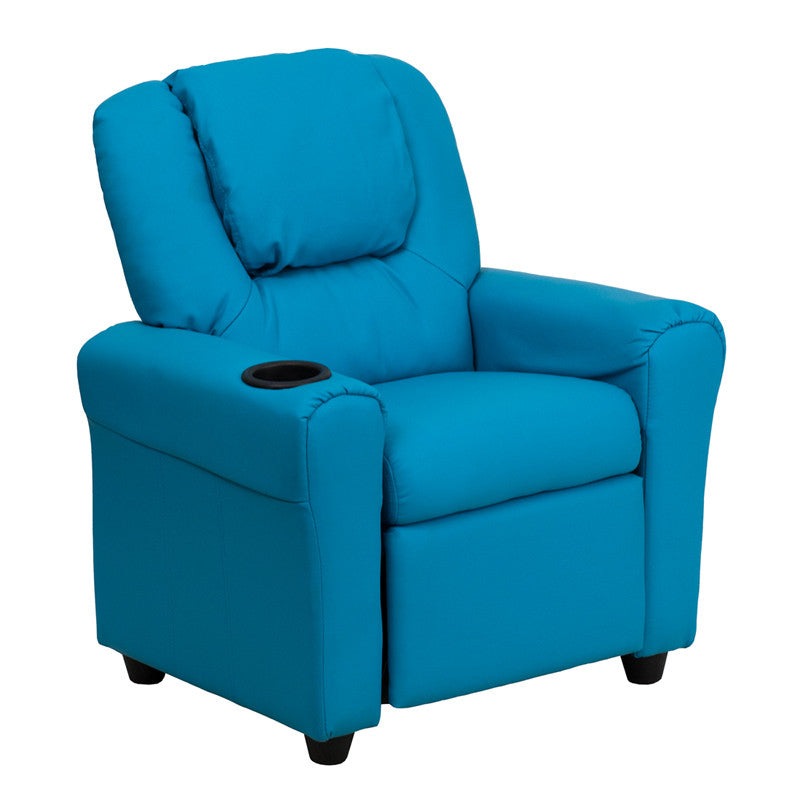 Contemporary Turquoise Vinyl Kids Recliner with Cup Holder and Headrest DG-ULT-KID-TURQ-GG by Flash Furniture