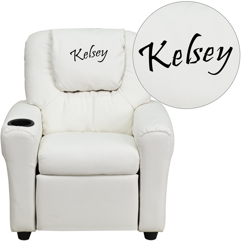 Flash Furniture DG-ULT-KID-WHITE-EMB-GG Personalized White Vinyl Kids Recliner with Cup Holder and Headrest - 1+ FLA-DG-ULT-KID-WHITE-EMB-GG