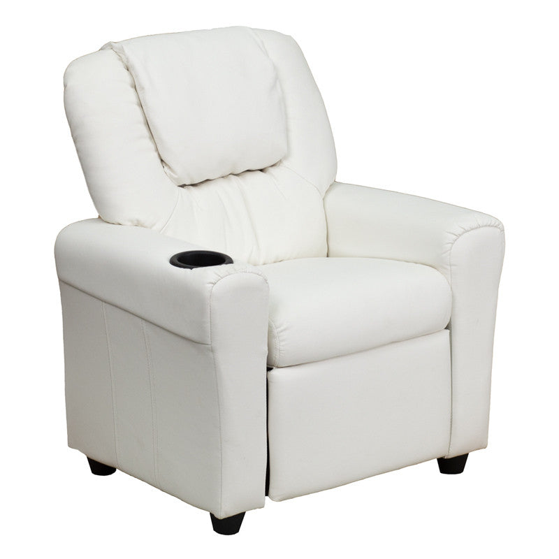 Contemporary White Vinyl Kids Recliner with Cup Holder and Headrest DG-ULT-KID-WHITE-GG by Flash Furniture FLA-DG-ULT-KID-WHITE-GG