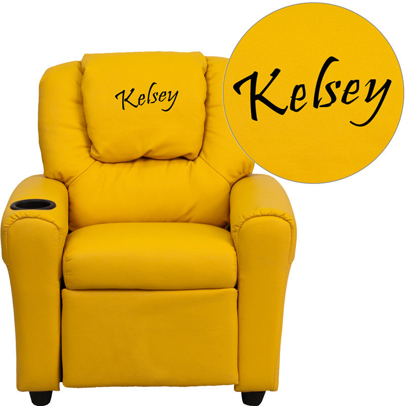 Flash Furniture DG-ULT-KID-YEL-EMB-GG Personalized Yellow Vinyl Kids Recliner with Cup Holder and Headrest