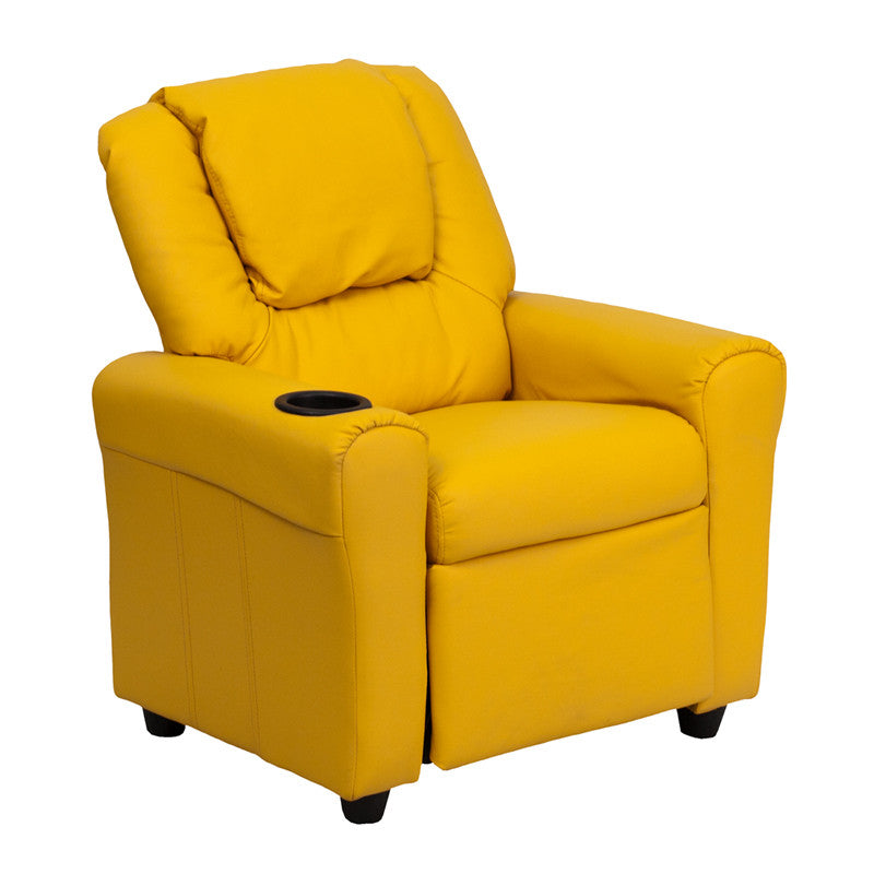 Contemporary Yellow Vinyl Kids Recliner with Cup Holder and Headrest DG-ULT-KID-YEL-GG by Flash Furniture FLA-DG-ULT-KID-YEL-GG
