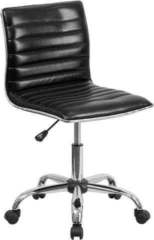 Flash Furniture DS-512B-BK-GG Mid-Back Armless Black Ribbed Designer Task Chair - Peazz.com