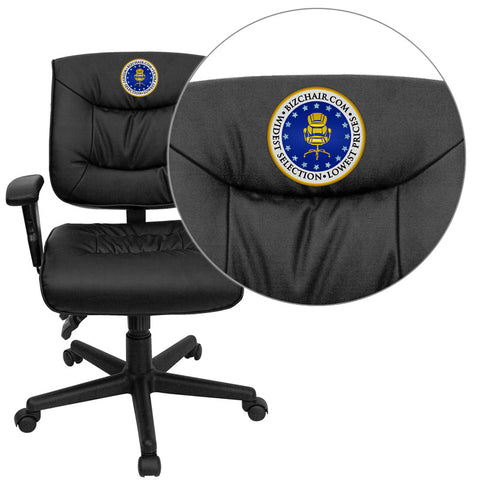 Flash Furniture GO-1574-BK-A-EMB-GG Embroidered Mid-Back Black Leather Multi-Functional Task Chair with Height Adjustable Arms - Peazz.com