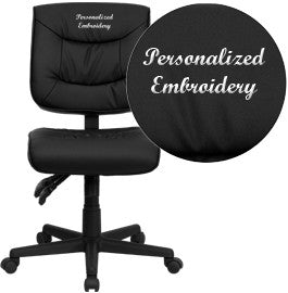 Flash Furniture GO-1574-BK-EMB-GG Embroidered Mid-Back Black Leather Multi-Functional Task Chair - Peazz.com