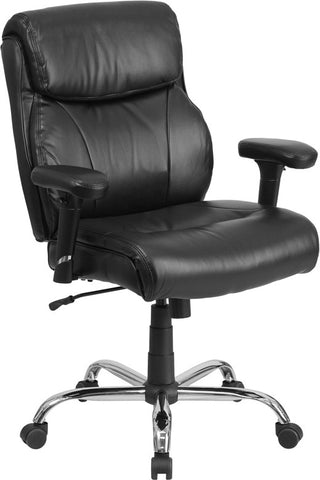 Flash Furniture GO-2031-LEA-GG HERCULES Series 400 lb. Capacity Big & Tall Black Leather Task Chair with Height Adjustable Arms - Peazz.com