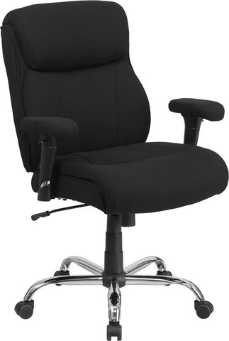 Flash Furniture GO-2031F-GG HERCULES Series 400 lb. Capacity Big & Tall Black Fabric Task Chair with Height Adjustable Arms - Peazz.com
