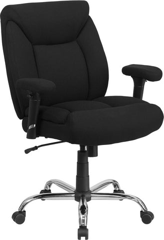 Flash Furniture GO-2073F-GG HERCULES Series 400 lb. Capacity Big & Tall Black Fabric Task Chair with Height Adjustable Arms - Peazz.com