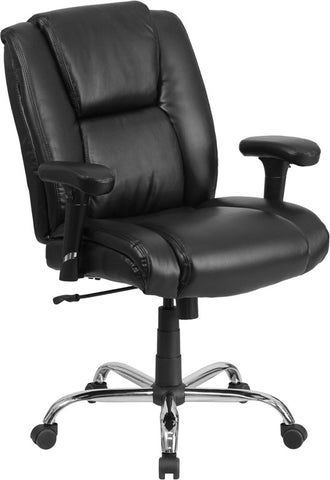 Flash Furniture GO-2132-LEA-GG HERCULES Series 400 lb. Capacity Big & Tall Black Leather Task Chair with Height Adjustable Arms - Peazz.com