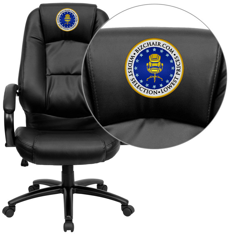 Flash Furniture GO-710-BK-EMB-GG Embroidered High Back Black Leather Executive Office Chair - 1+ FLA-GO-710-BK-EMB-GG