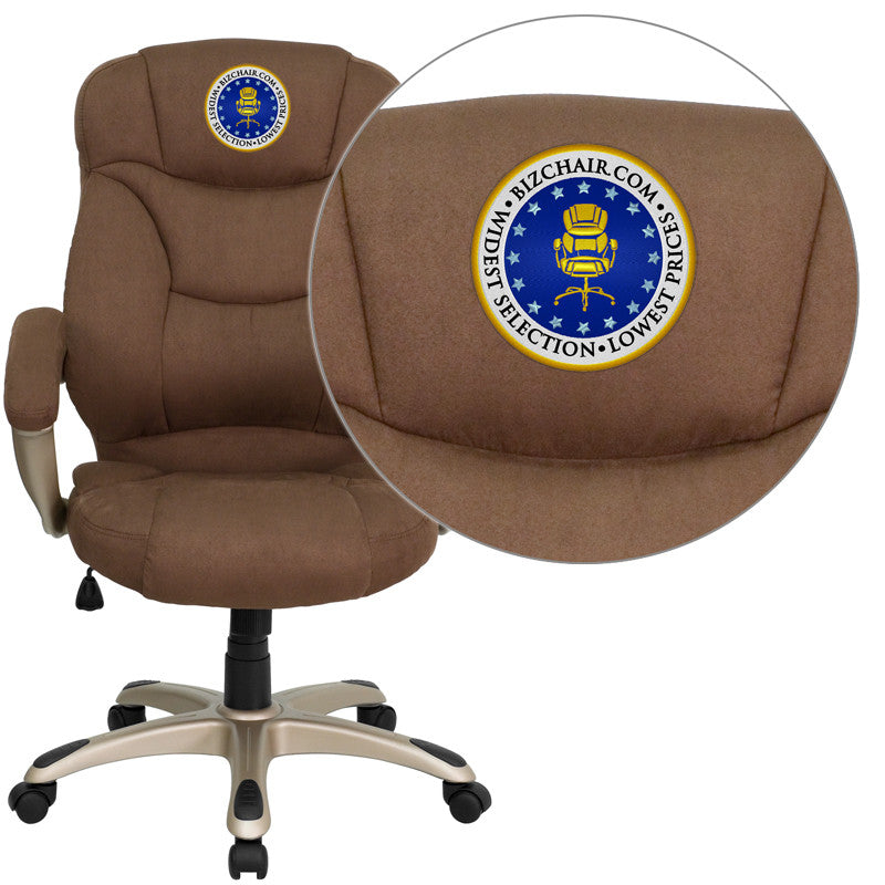 Flash Furniture GO-725-BN-EMB-GG Embroidered High Back Brown Microfiber Upholstered Contemporary Office Chair