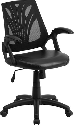 Flash Furniture GO-WY-82-LEA-GG Mid-Back Black Mesh Chair with Leather Seat - Peazz.com