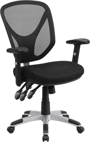 Flash Furniture GO-WY-89-GG Mid-Back Black Mesh Chair with Triple Paddle Control and Height Adjustable Arms - Peazz.com