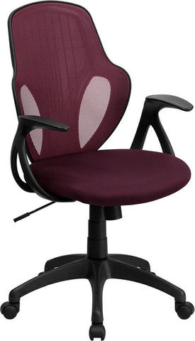 Flash Furniture H-8880F-ALL-BY-GG Mid-Back Executive Burgundy Mesh Chair with Nylon Base - Peazz.com