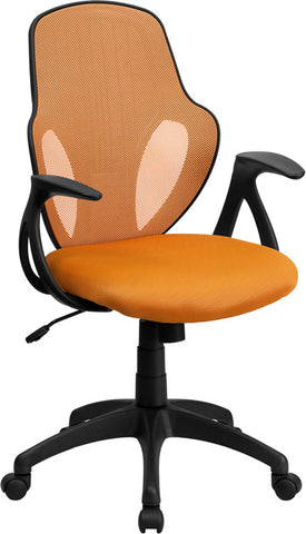 Flash Furniture H-8880F-ORG-GG Mid-Back Executive Orange Mesh Chair with Nylon Base - Peazz.com