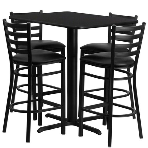 Flash Furniture HDBF1017-GG 24''W x 42''L Rectangular Black Laminate Table Set with 4 Ladder Back Metal Bar Stools - Black Vinyl Seat - Peazz.com