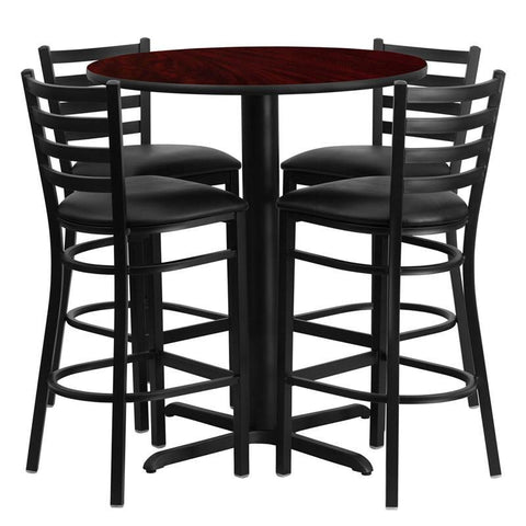 Flash Furniture HDBF1022-GG 30'' Round Mahogany Laminate Table Set with 4 Ladder Back Metal Bar Stools - Black Vinyl Seat - Peazz.com
