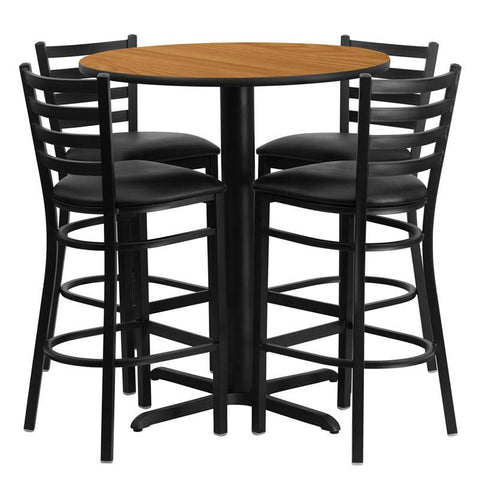 Flash Furniture HDBF1023-GG 30'' Round Natural Laminate Table Set with 4 Ladder Back Metal Bar Stools - Black Vinyl Seat - Peazz.com
