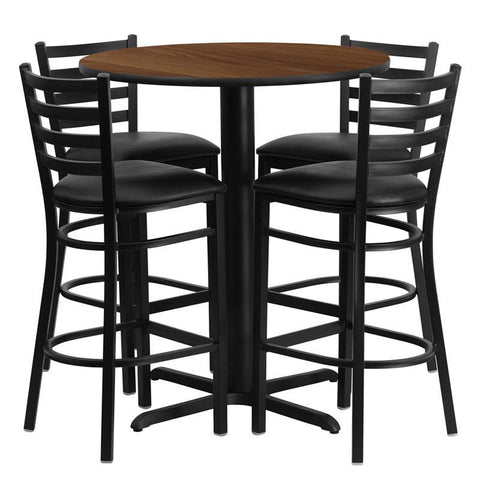 Flash Furniture HDBF1024-GG 30'' Round Walnut Laminate Table Set with 4 Ladder Back Metal Bar Stools - Black Vinyl Seat - Peazz.com