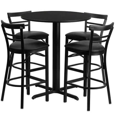 Flash Furniture HDBF1033-GG 24'' Round Black Laminate Table Set with 4 Ladder Back Metal Bar Stools - Black Vinyl Seat - Peazz.com