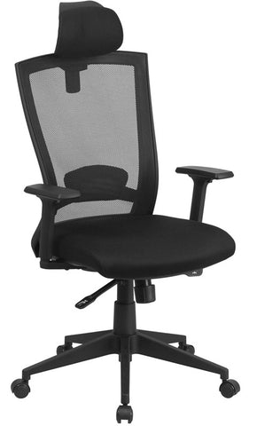 Flash Furniture HL-0004K-HR-GG High Back Black Mesh Chair with Back Angle Adjustment - Peazz.com