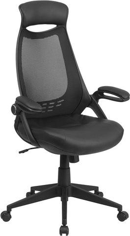Flash Furniture HL-0018-LEA-GG High Back Executive Black Mesh Chair with Leather Seat and Flip-Up Arms - Peazz.com