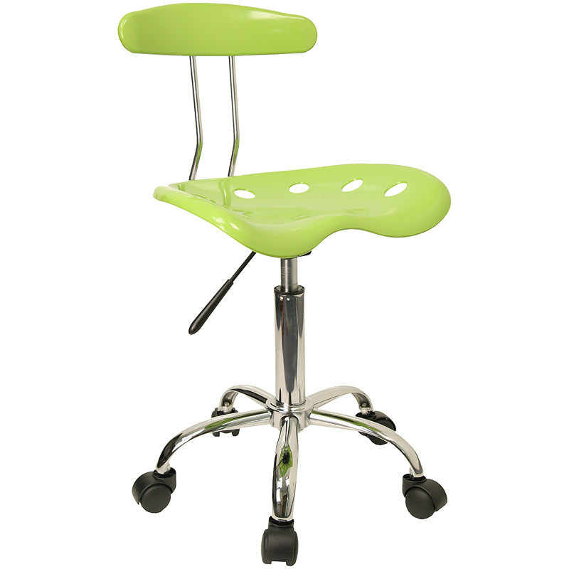 Vibrant Apple Green and Chrome Computer Task Chair with Tractor Seat LF-214-APPLEGREEN-GG by Flash Furniture FLA-LF-214-APPLEGREEN-GG