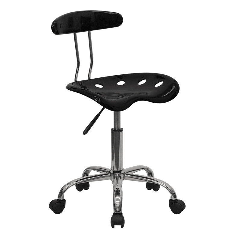 Vibrant Black and Chrome Computer Task Chair with Tractor Seat LF-214-BLK-GG by Flash Furniture FLA-LF-214-BLK-GG