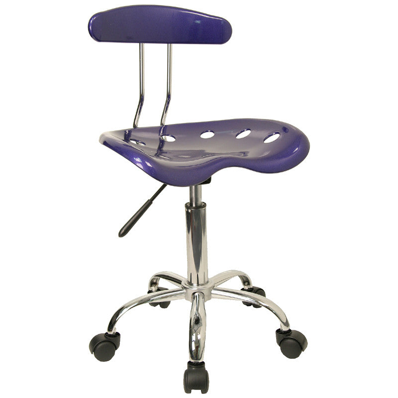 Vibrant Deep Blue and Chrome Computer Task Chair with Tractor Seat LF-214-DEEPBLUE-GG by Flash Furniture FLA-LF-214-DEEPBLUE-GG