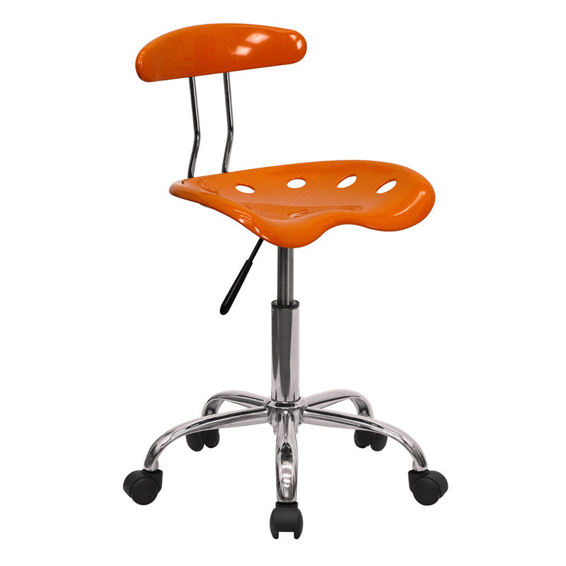 Vibrant Orange and Chrome Computer Task Chair with Tractor Seat LF-214-ORANGEYELLOW-GG by Flash Furniture FLA-LF-214-ORANGEYELLOW-GG