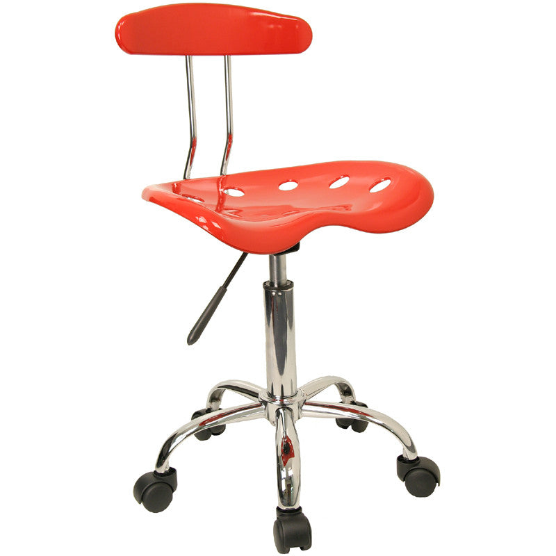 Vibrant Red and Chrome Computer Task Chair with Tractor Seat LF-214-RED-GG by Flash Furniture FLA-LF-214-RED-GG