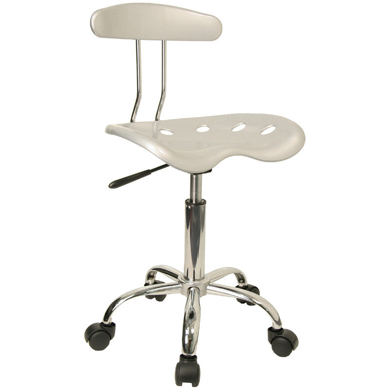 Vibrant Silver and Chrome Computer Task Chair with Tractor Seat LF-214-SILVER-GG by Flash Furniture FLA-LF-214-SILVER-GG