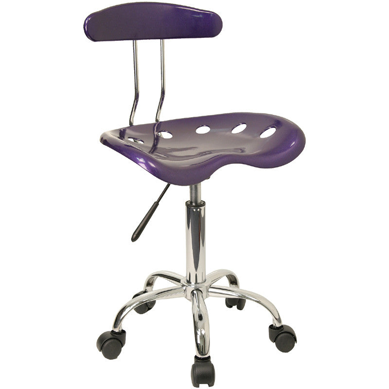Vibrant Violet and Chrome Computer Task Chair with Tractor Seat LF-214-VIOLET-GG by Flash Furniture FLA-LF-214-VIOLET-GG
