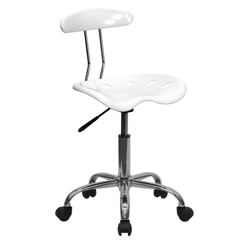 Vibrant White and Chrome Computer Task Chair with Tractor Seat LF-214-WHITE-GG by Flash Furniture FLA-LF-214-WHITE-GG