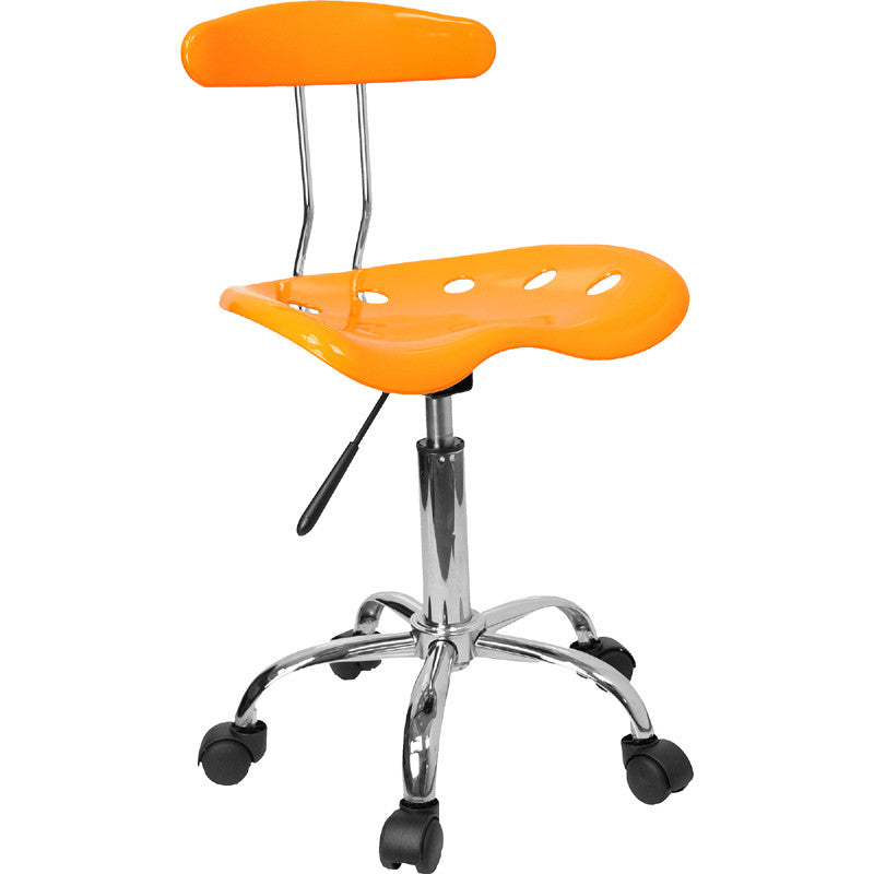 Vibrant Orange-Yellow and Chrome Computer Task Chair with Tractor Seat LF-214-YELLOW-GG by Flash Furniture FLA-LF-214-YELLOW-GG