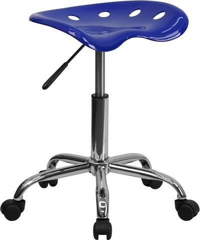 Flash Furniture LF-214A-NAUTICALBLUE-GG Vibrant Nautical Blue Tractor Seat and Chrome Stool - Peazz.com