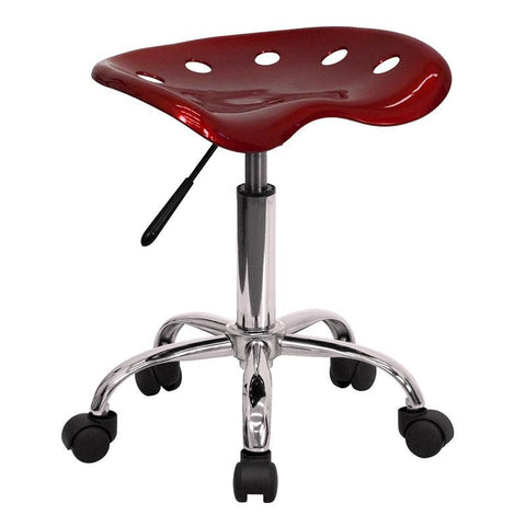 Vibrant Wine Red Tractor Seat and Chrome Stool LF-214A-WINERED-GG by Flash Furniture - Peazz.com