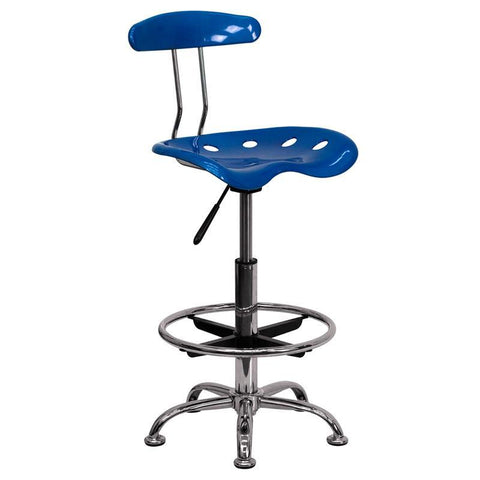 Vibrant Bright Blue and Chrome Drafting Stool with Tractor Seat LF-215-BRIGHTBLUE-GG by Flash Furniture - Peazz.com