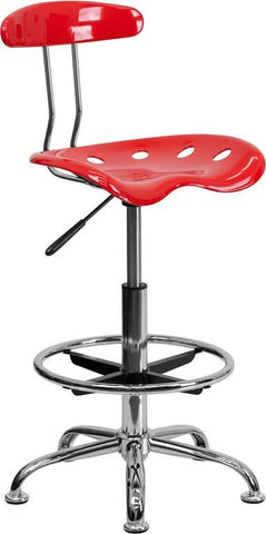 Flash Furniture LF-215-CHERRYTOMATO-GG Vibrant Cherry Tomato and Chrome Drafting Stool with Tractor Seat - Peazz.com