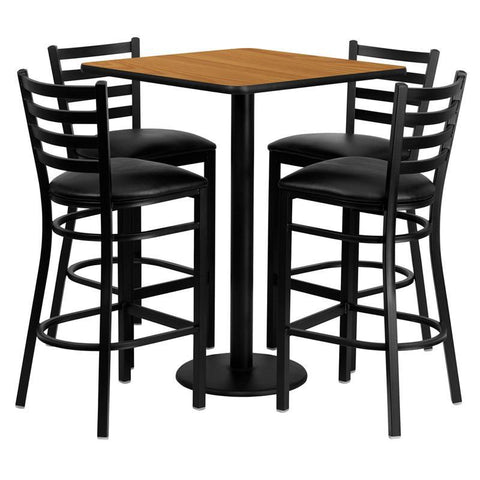 Flash Furniture MD-0012-GG 30'' Square Natural Laminate Table Set with 4 Ladder Back Metal Bar Stools - Black Vinyl Seat - Peazz.com