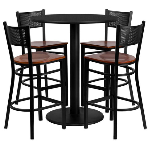 Flash Furniture MD-0018-GG 36'' Round Black Laminate Table Set with 4 Grid Back Metal Bar Stools - Cherry Wood Seat - Peazz.com