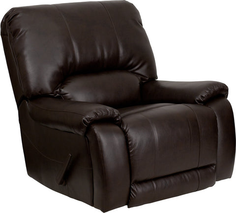 OverStuffed Brown Leather Lever Rocker Recliner MEN-DSC01029-BRN-GG by Flash Furniture - Peazz.com