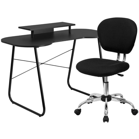 Flash Furniture NAN-1-GG Black Computer Desk with Monitor Stand and Mesh Chair - Peazz.com