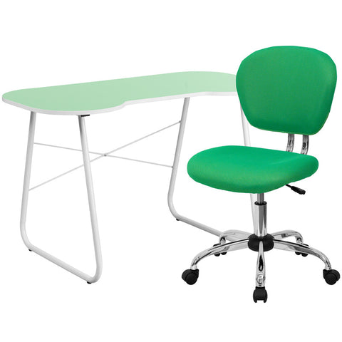 Flash Furniture NAN-12-GG Green Computer Desk and Mesh Chair - Peazz.com